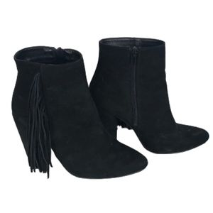 American Eagle Outfitters Suede Boots Fringe Black